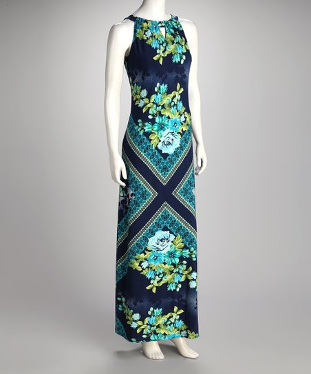 Blue Floral Keyhole Neck Maxi Dress - Women