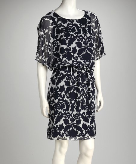Navy &amp; White Damask Drape Sleeve Dress - Women
