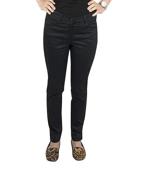 Black Five-Pocket Cotton Spandex Jeans