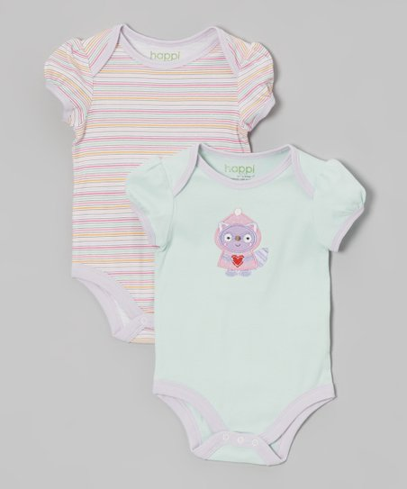 Winter Mint Raccoon Bodysuit Set - Infant