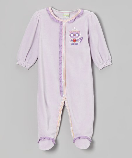 Purple Raccoon Velour Footie - Infant