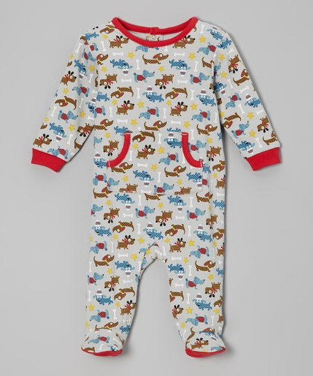 Red & Gray Puppy Love Footie - Infant