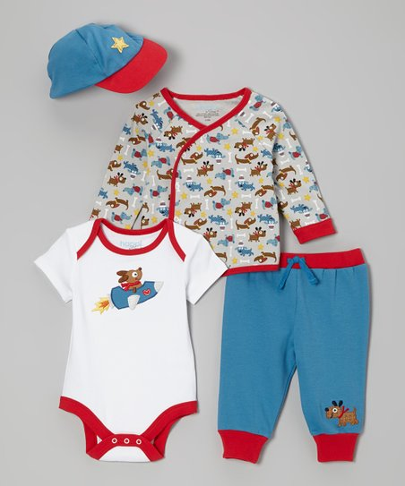 Blue & Red Puppy Love Wrap Top Set - Infant