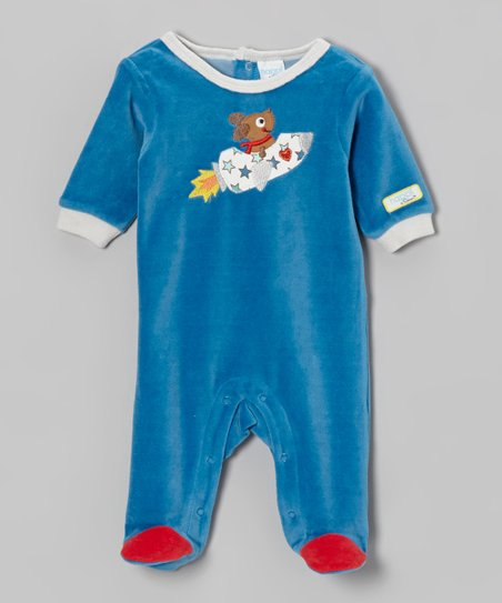 Blue Puppy Love Velour Footie - Infant