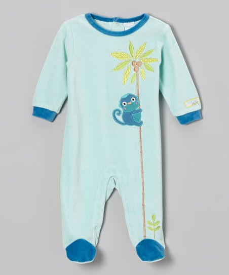 Blue Jungle Friends Velour Footie - Infant