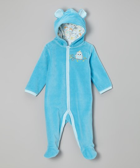 Blue Winter Owl Velour Hooded Footie - Infant