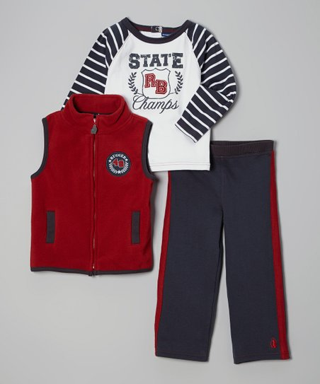 Red & Blue 'State Champs' Vest Set - Infant & Toddler