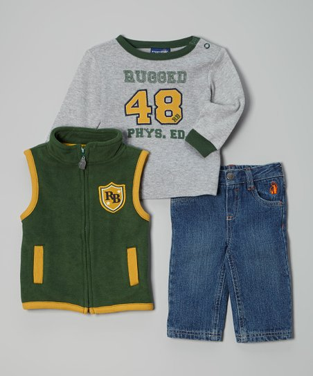 Green & Gray 'Phys Ed' Vest Set - Infant, Toddler & Boys