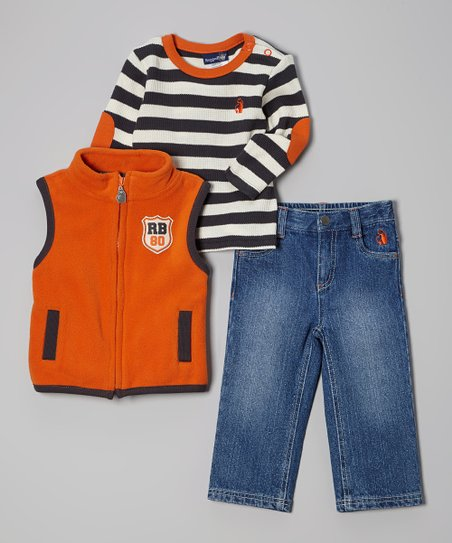Orange & Charcoal Stripe Vest Set - Toddler