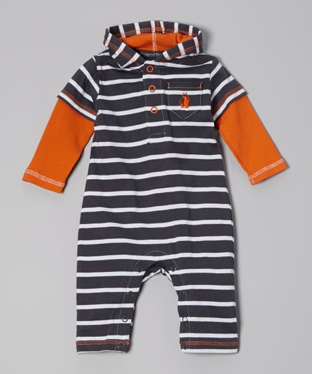 Gray & Orange Stripe Hooded Playsuit - Infant