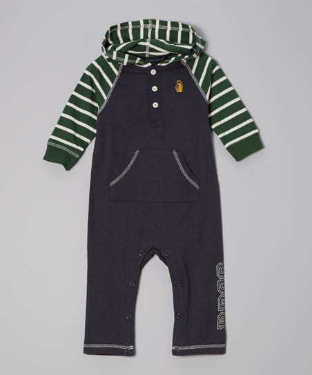 Green & Charcoal Hooded Playsuit - Infant