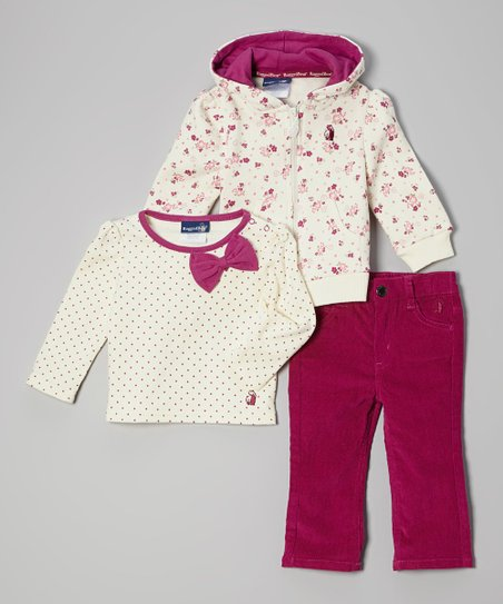 Pink Bow Zip-Up Hoodie Set - Infant & Toddler
