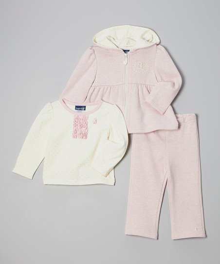 Pink & Cream Zip-Up Hoodie Set - Toddler