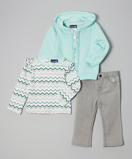 Teal & Gray Zip-Up Hoodie Set - Infant & Toddler