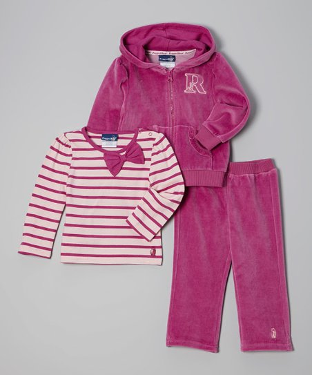 Pink Bow Zip-Up Hoodie Set - Toddler