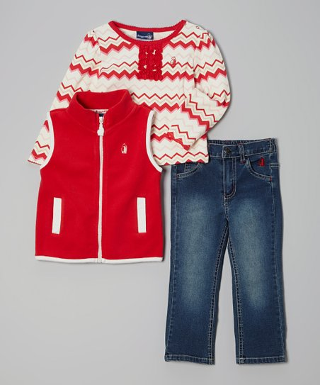 Red & White Zigzag Vest Set - Infant