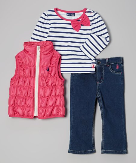 Hot Pink & Navy Puffer Vest Set - Infant