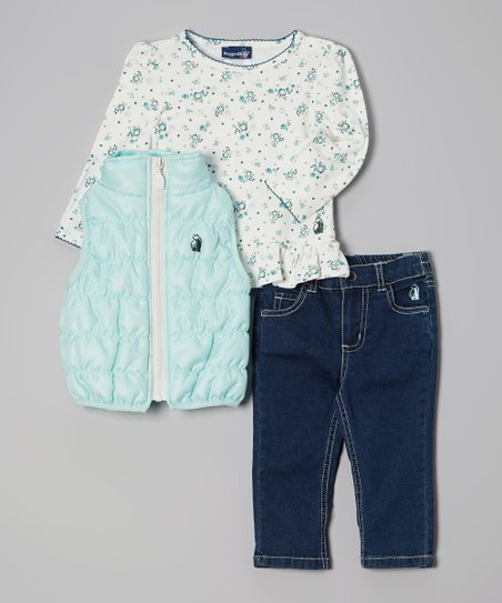 Teal Floral Puffer Vest Set - Toddler