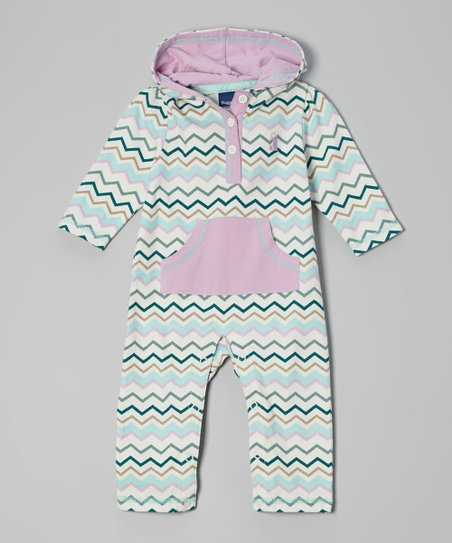Teal & Pink Zigzag Hooded Playsuit - Infant
