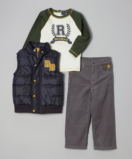 Green & Navy 'Academy' Puffer Vest Set - Infant