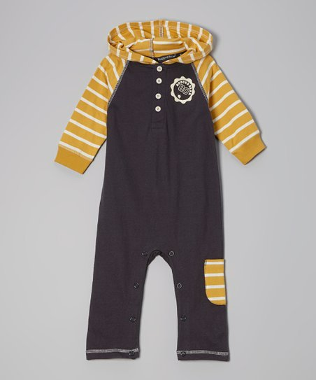Navy & Yellow Stripe Hooded Playsuit - Infant