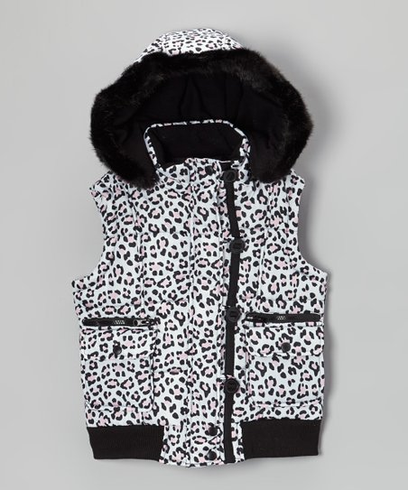 White & Light Pink Leopard Faux Fur Vest - Girls