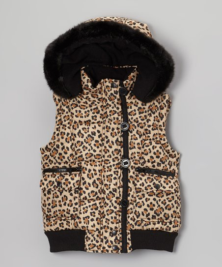 Tan Leopard Faux Fur Vest - Girls