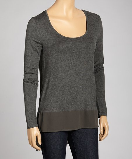 Charcoal Scoop Neck Hi-Low Top