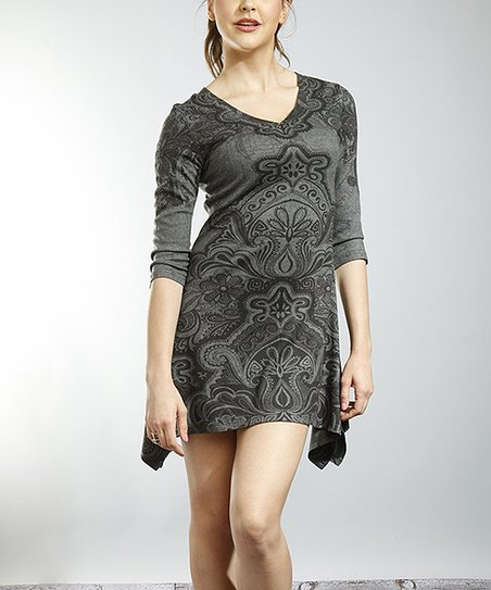 Charcoal Paisley V-Neck Sidetail Dress