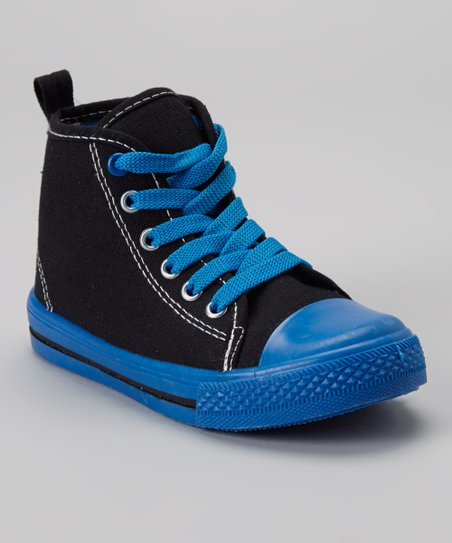 Black & Blue Hi-Top Sneaker