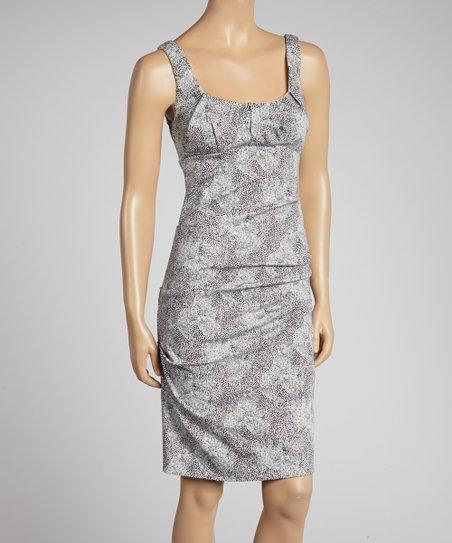 White & Black Spotted Leopard Twill Dress