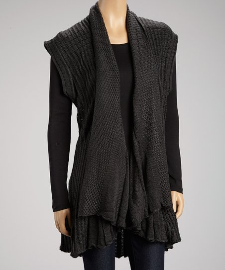 Charcoal Cap-Sleeve Duster