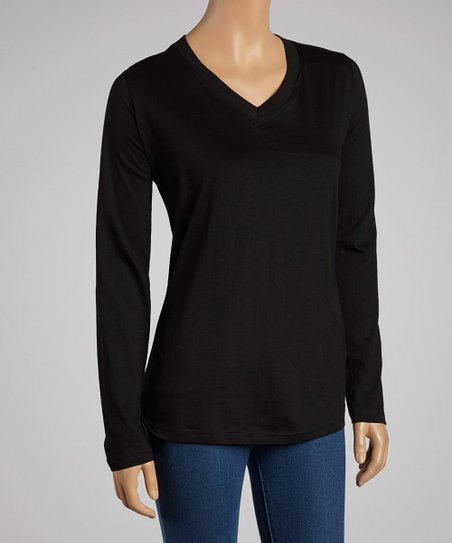 Black V-Neck Long-Sleeve Top