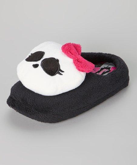 Black & White Plush Skull Slipper