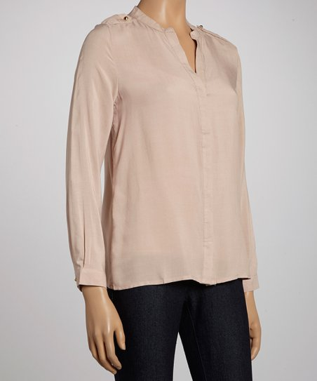 Beige Button-Up Top