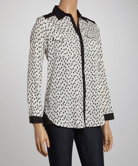 Ecru Polka Dot Button-Up
