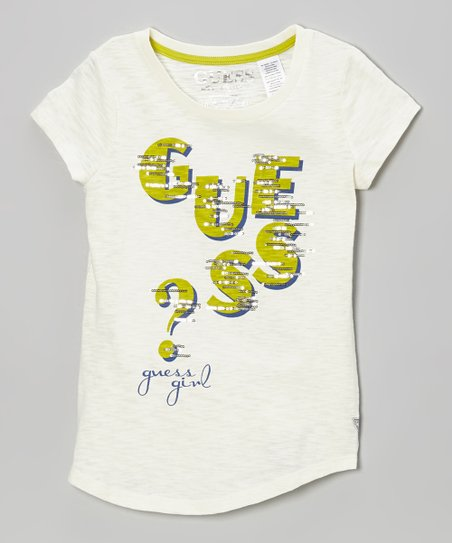 Cream & Green 'Guess' Tee - Toddler & Girls