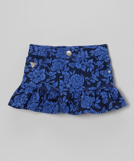 Blue Floral Twill Ruffle Skirt - Toddler & Girls