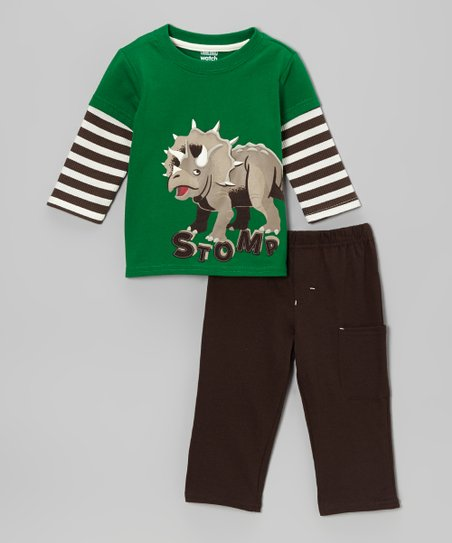 Green 'Stomp' Dino Layered Tee & Brown Pants - Infant