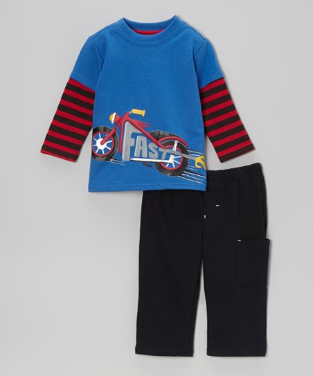 Blue 'Fast' Motorcycle Layered Tee & Black Pants - Infant