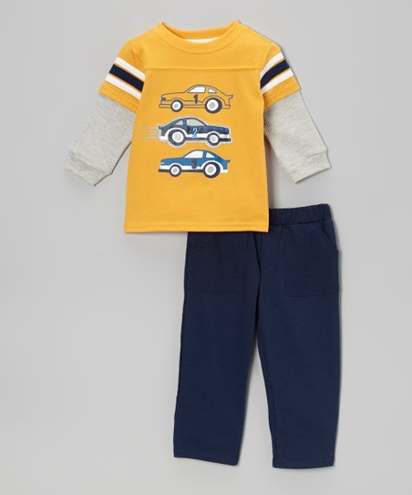 Yellow '1-2-3' Racecar Layered Tee & Navy Pants - Infant