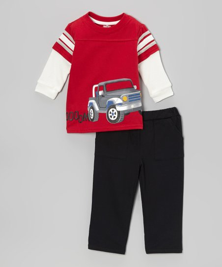 Red 'Vroom' Car Layered Tee & Black Pants - Infant