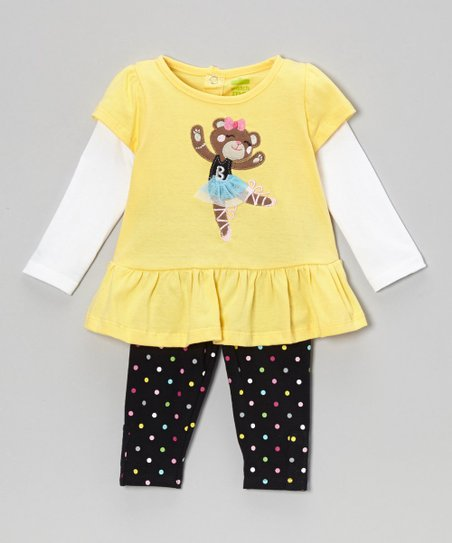 Yellow Teddy Layered Tunic & Leggings - Infant & Toddler