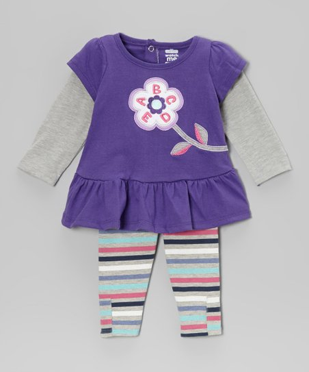 Purple Blossom Layered Tunic & Leggings - Infant & Toddler
