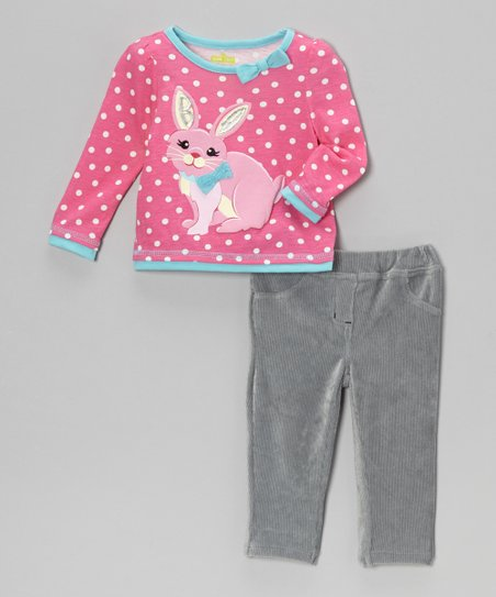Pink Polka Dot Bunny Top & Corduroy Pants - Infant