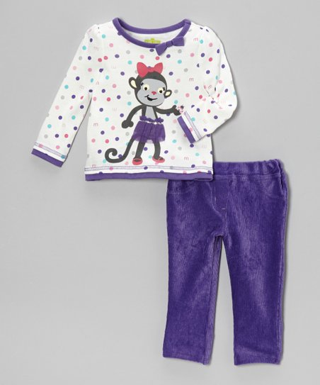 Purple Monkey Top & Corduroy Pants - Infant & Toddler