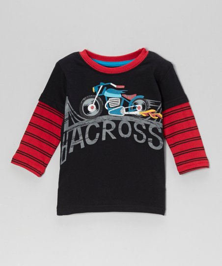 Black 'Across' Motorcycle Layered Tee - Infant & Toddler