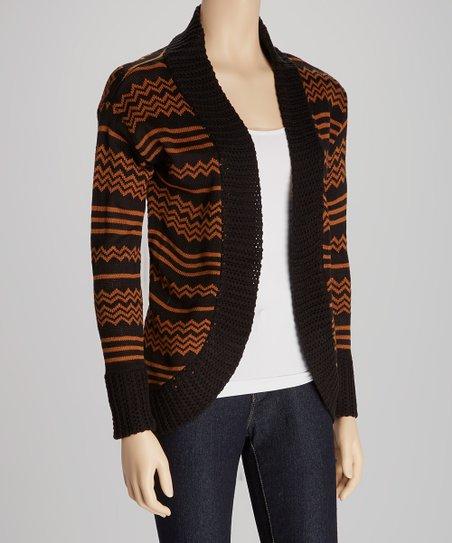 Camel & Black Stripe Open Cardigan