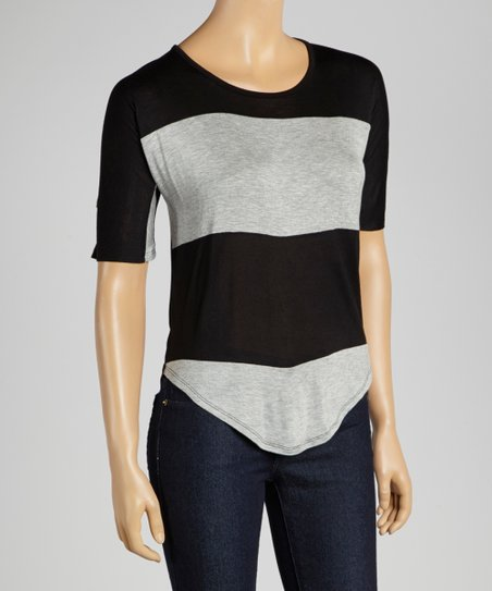 Gray & Black Stripe Scoop Neck Tee - Women