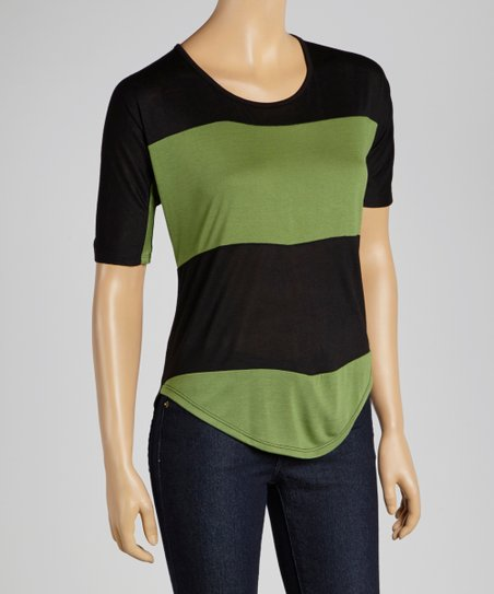 Lime & Black Stripe Scoop Neck Tee